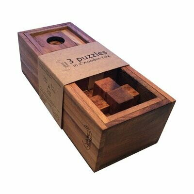 3 Puzzles in Wooden Box