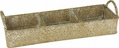 Rattan Storage Tray Triple Section with Handles - Natural and White Wash