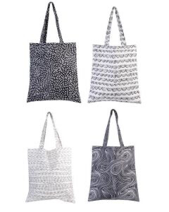 Contemporary Black And White Shopping Bag/Tote