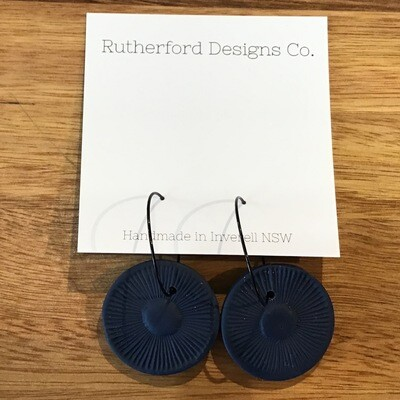 Rutherford Design Co. RD11 - Navy Round Dangly Earrings