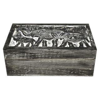 Carved Elephant Wood Box