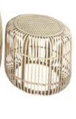 Round Rattan Side Table Woven Top Small 50cm x 40cm FP2324
