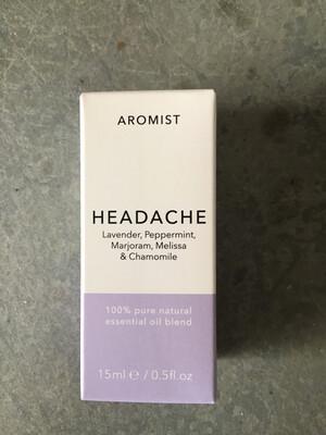 Aromist Natural Essential Oil 15ml - Headache ~ Lavender, Peppermint, Marjoram & Chamomile