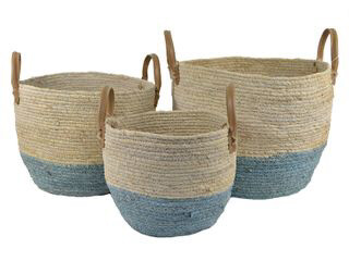 Blue And Natural Seagrass Basket 3 Sizes  ST2293
