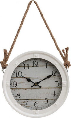 Cream Metal Hanging Clock With Rope 28cm LC9530