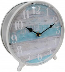 Cream Metal Standing Clock With Blue Background 22x23cm LC9703