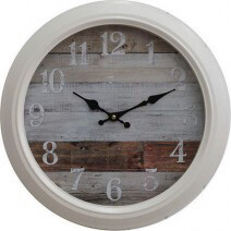 Cream Metal Clock With Weathered Board 40cm LC9522