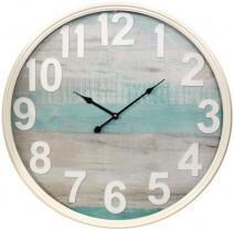 Cream Metal & Blue Clock LC9682 60cm