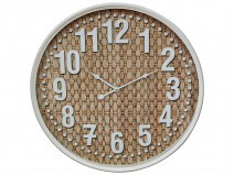 Glass Weaved Clock With Cream Metal Edging 60cm LC9859