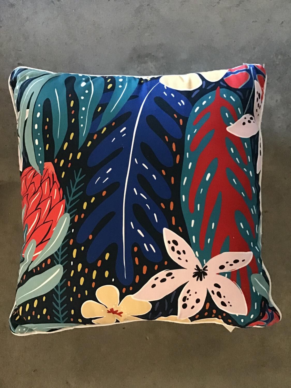 Cushion Cotton - Navy Summer Banksia Jungle CU565