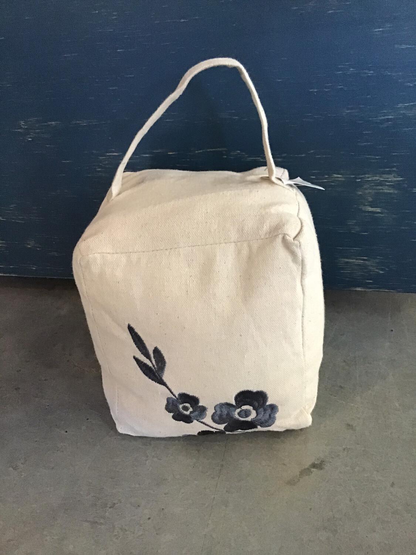 Linen Door Stop With Embroider Grey Flower