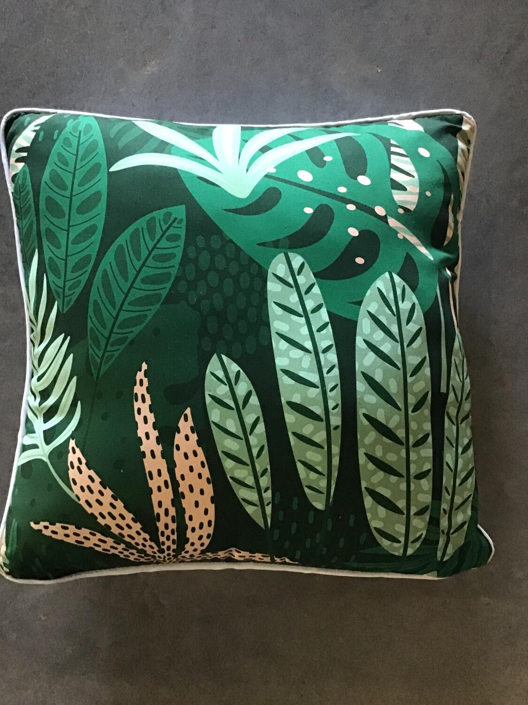 Jungle Forrest Pink Green Cushion 45x45