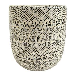 Marrakech Ceramic Pot 20x22cm White/Black GA1782