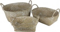Set Of 3 Oval Seagrass Baskets Natural - 24cm, 27cm, 30cm