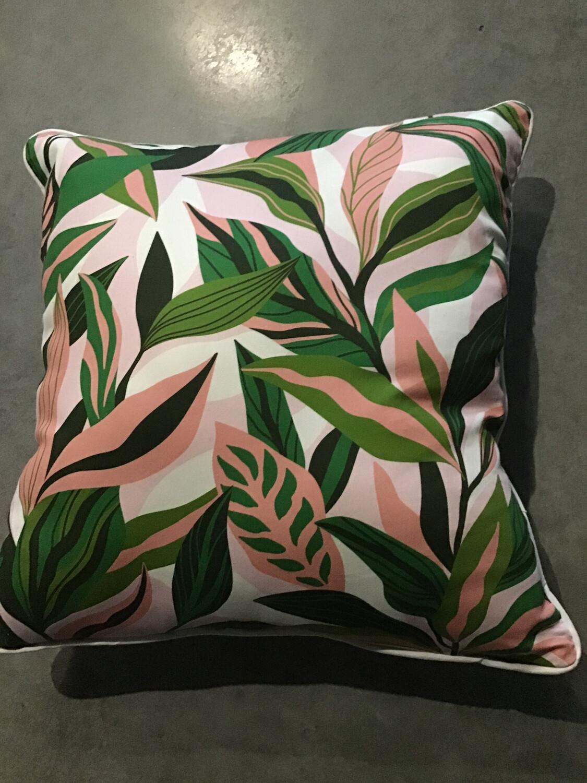 Pink Jungle Leaves Cushion