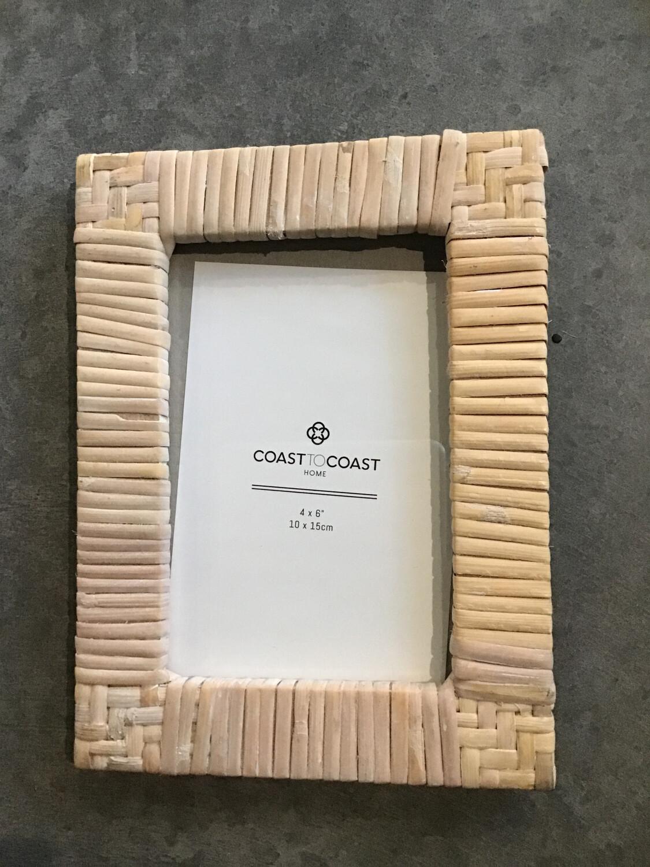 Pella 4x6 Rattan Frame White Wash
