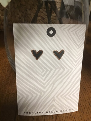 Aberline Belle Design Grey Heart Stud