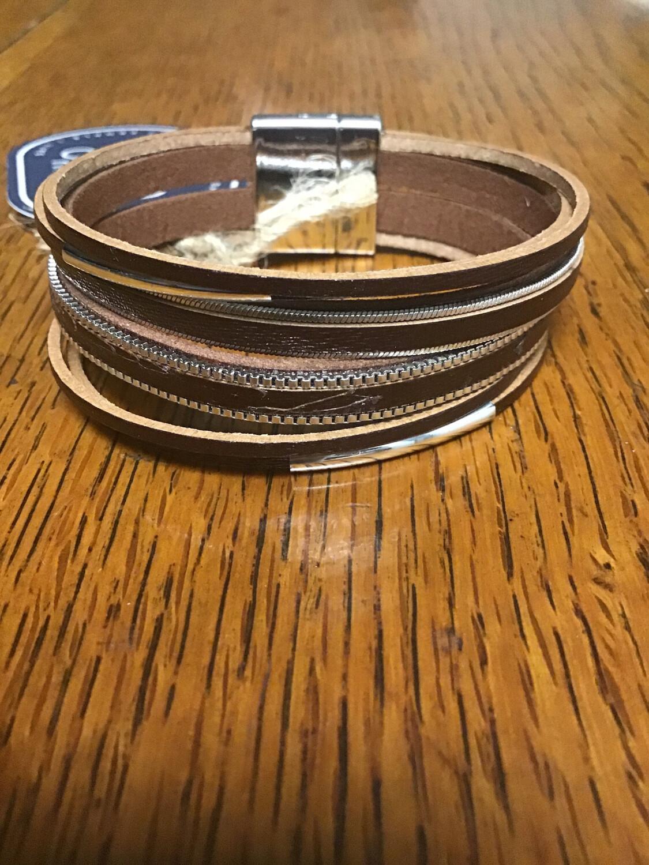 Dark Brown With Silver Detail Magnetic Clip Bracelet