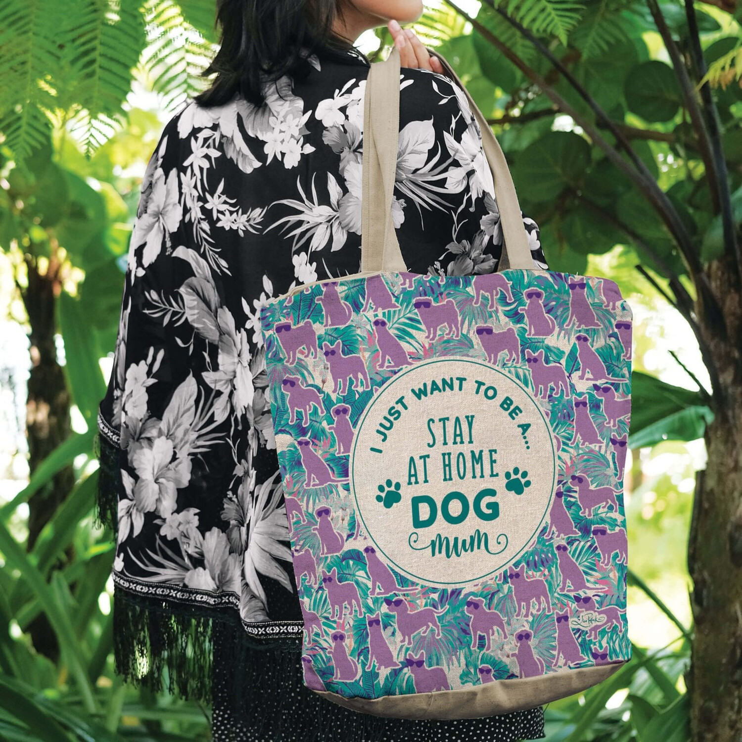 Lisa Pollock Linen/Poly Shopping Tote - I Just Want To Be A Stay At Home Dog Mum