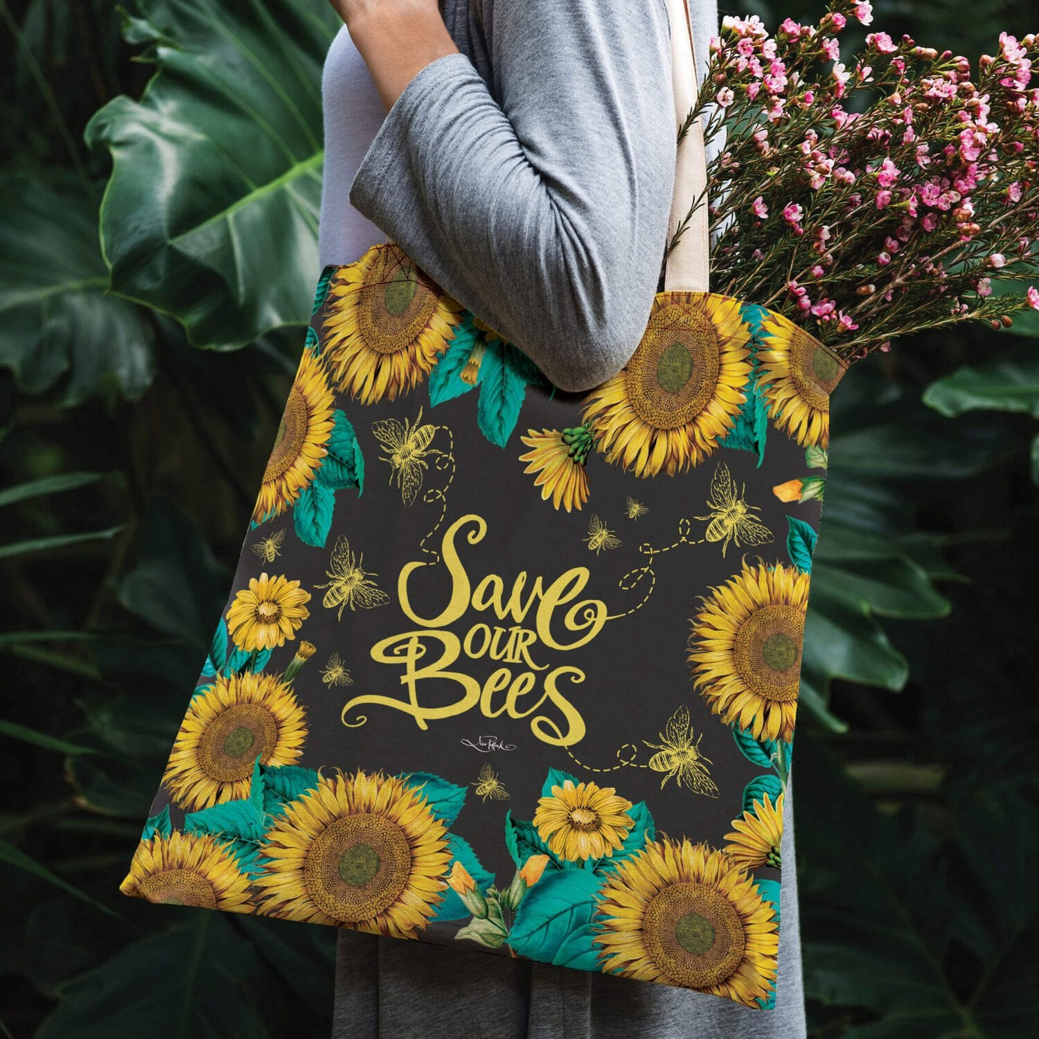 Lisa Pollock Linen/Poly Shopping Tote - Save Our Bees