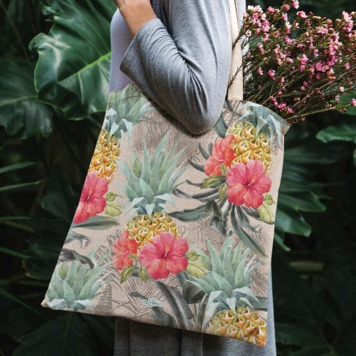Lisa Pollock Linen/Poly Shopping Tote - Vintage Pineapple