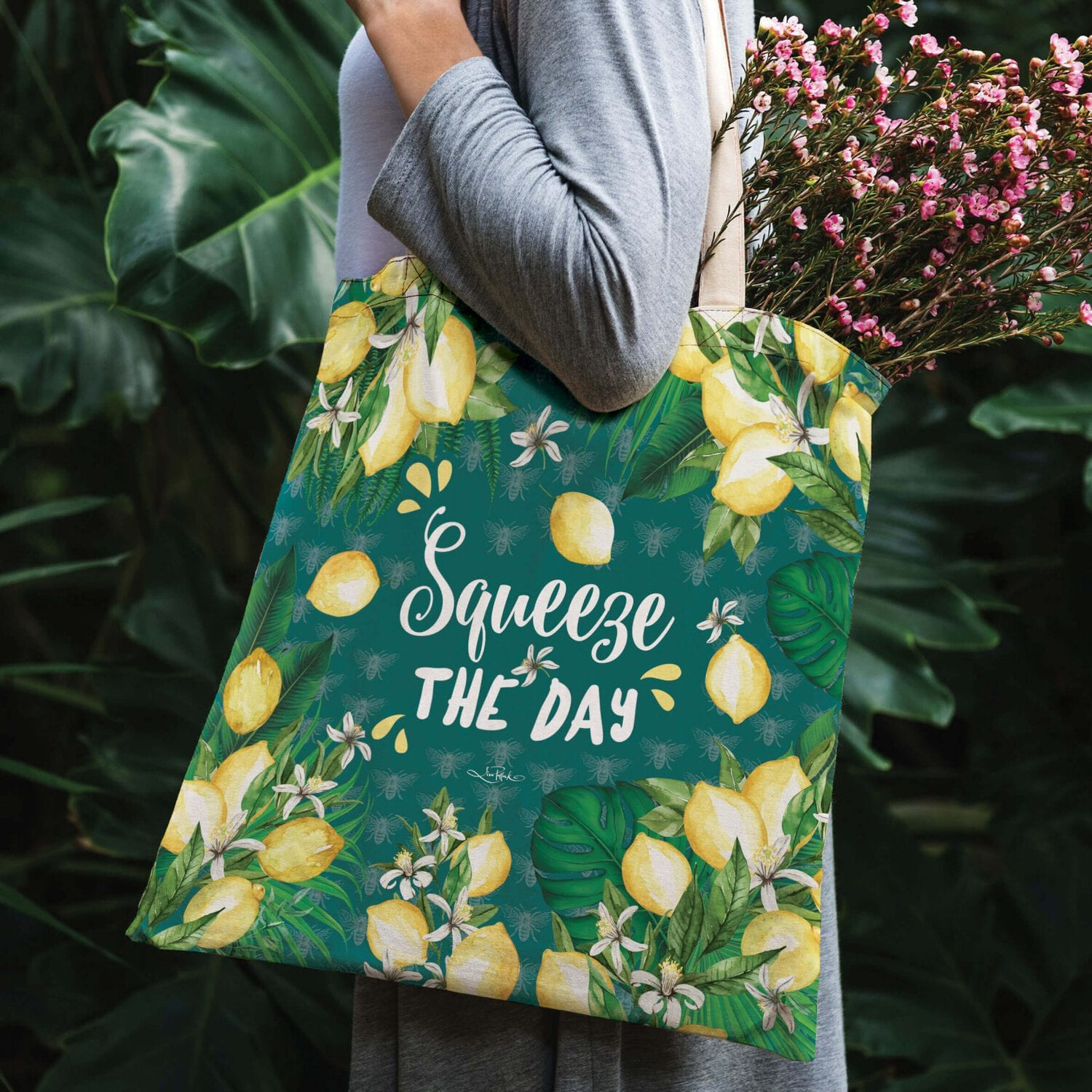 Lisa Pollock Linen/Poly Shopping Tote - Squeeze The Day