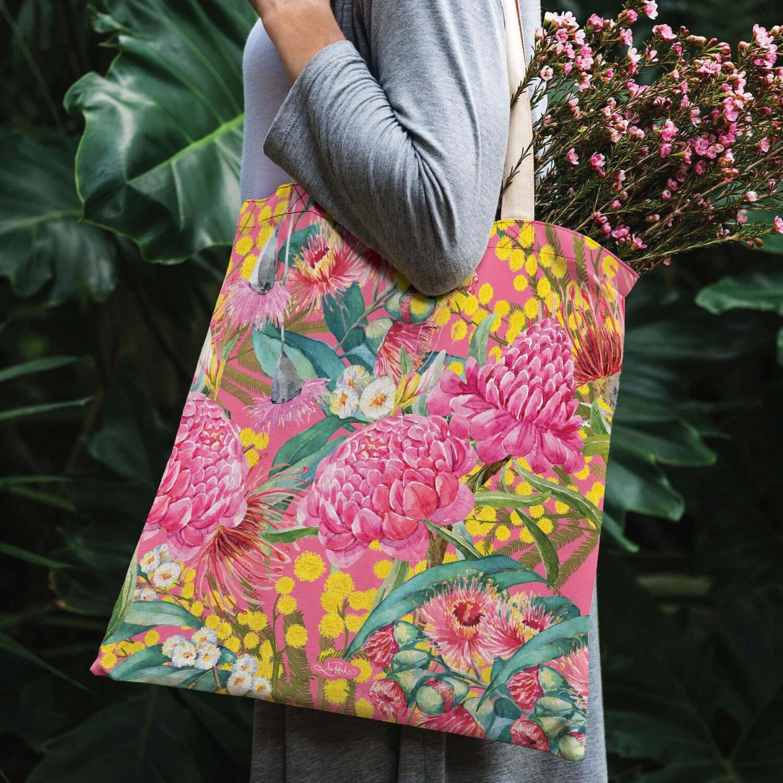 Lisa Pollock Linen/Poly Shopping Tote - Vivid Blossoms