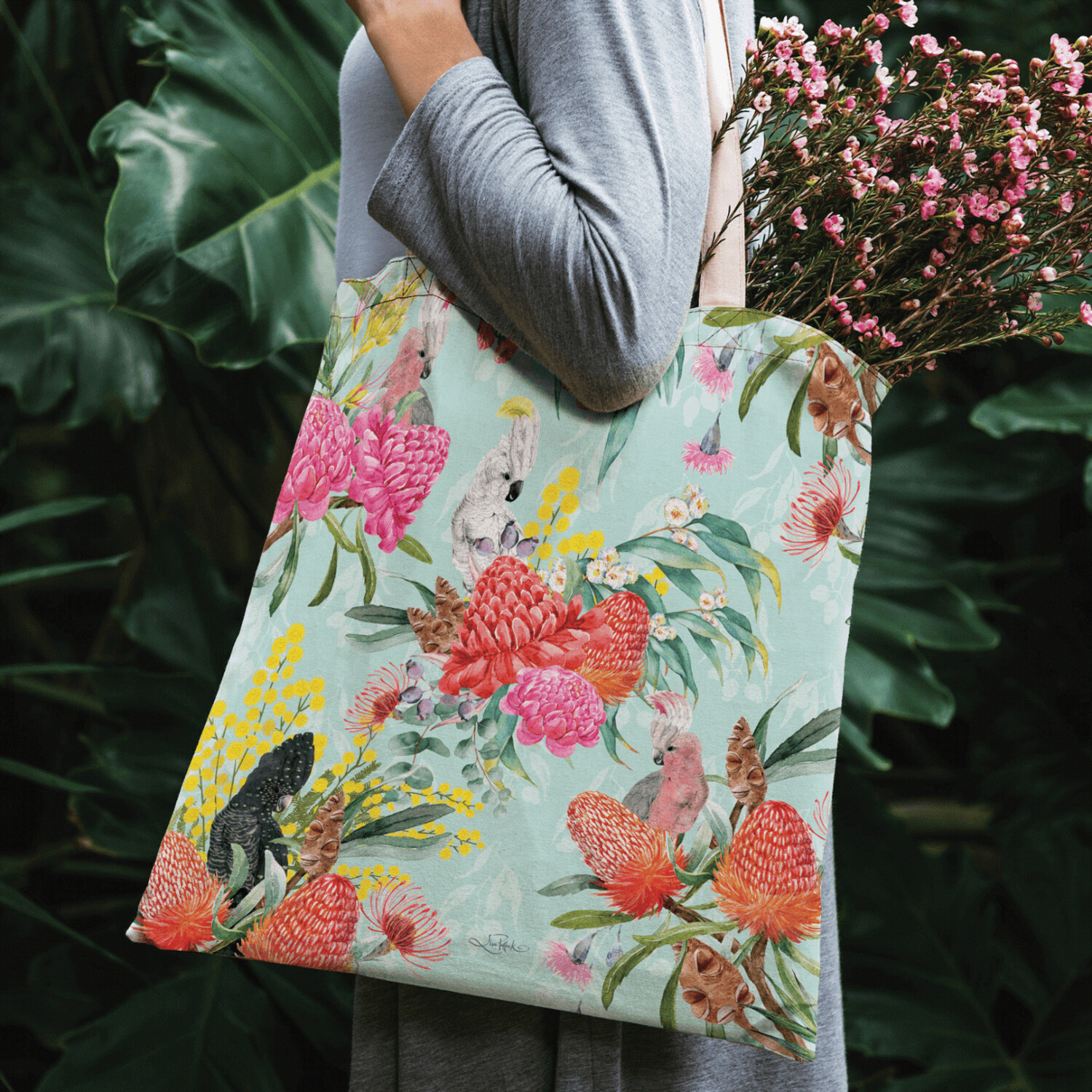 Lisa Pollock Linen/Poly Shopping Tote - Native Birds