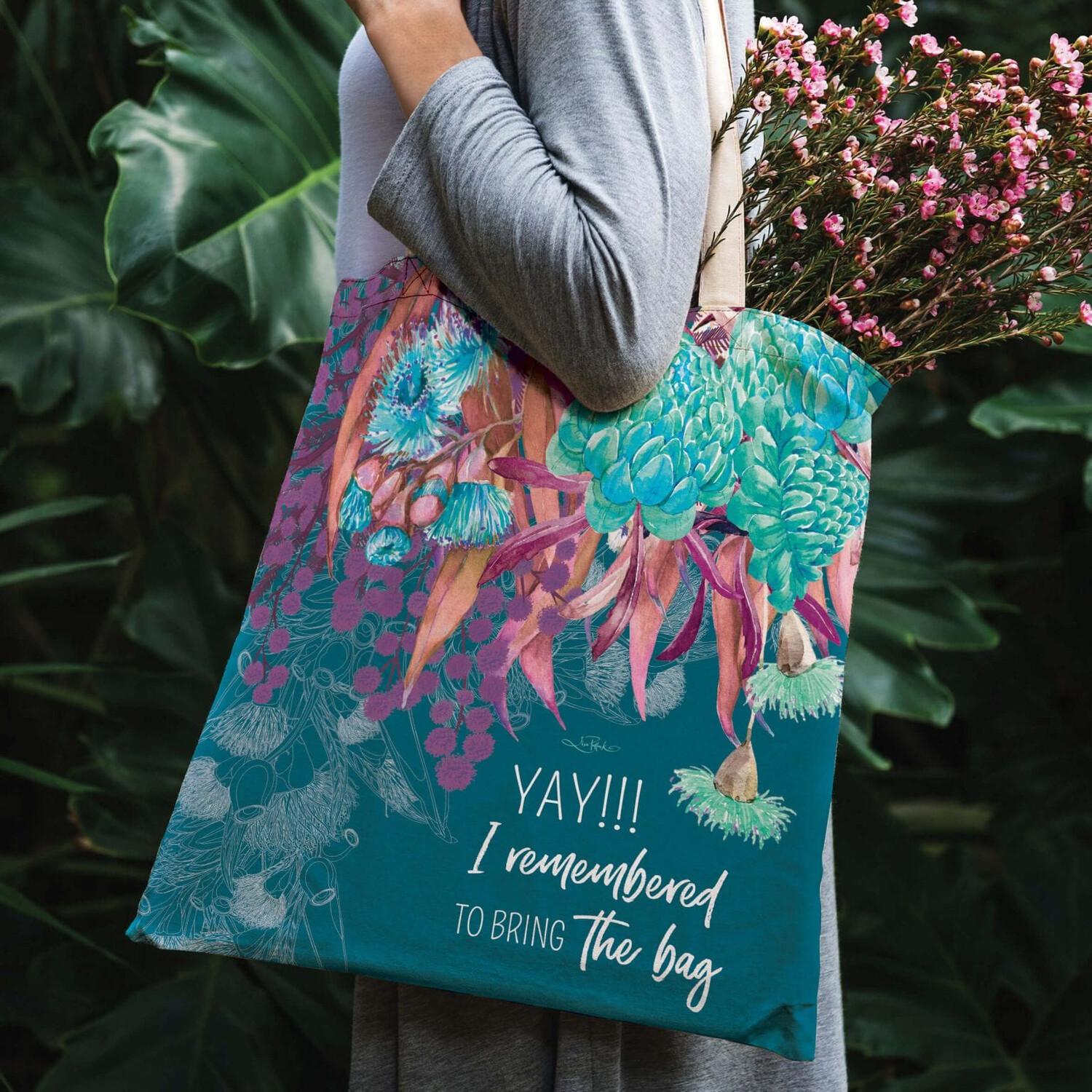 Lisa Pollock Linen/Poly Shopping Tote - Azure Blossom - Yay I Remembered To Bring My Bag