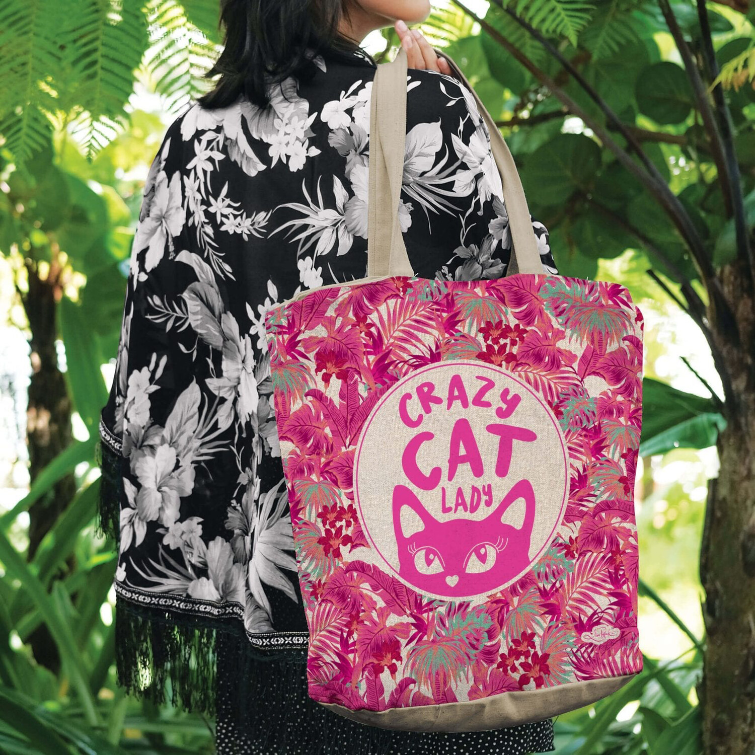 Lisa Pollock Linen/Poly Shopping Tote - Crazy Cat Lady
