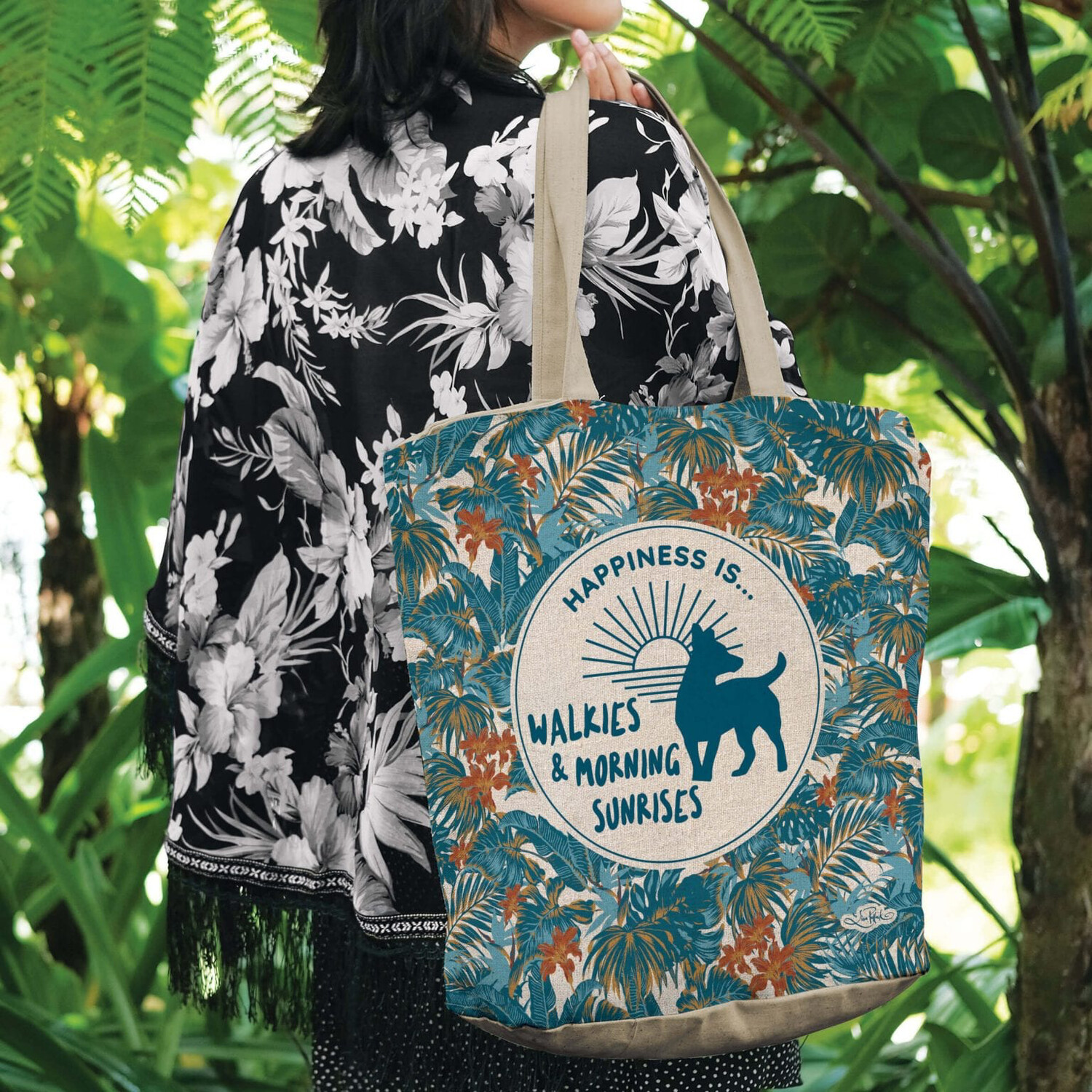 Lisa Pollock Linen/Poly Shopping Tote - Happiness Is.... Walkies & Morning Sunrises