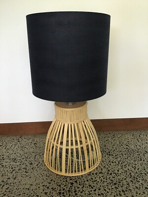 Krabi Lamp Bamboo Base 29x30cm Dark Blue Linen Shade 33x30cm FU3146