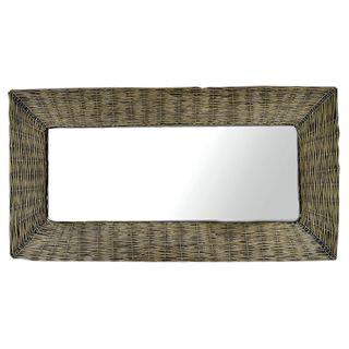 Mila Wicker Mirror 67x127cm Grey Wash FU2449