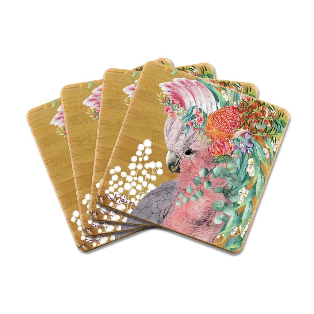 Lisa Pollock Bamboo Coasters - Native Galah