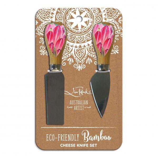 Lisa Pollock Bamboo Cheese Knife Set - Blush Beauty