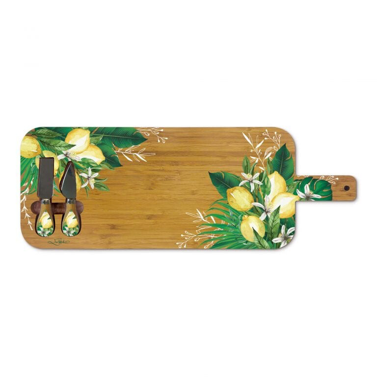 Lisa Pollock Large Serving Platter With Handle And Cheese Knives - Zesty Lemon