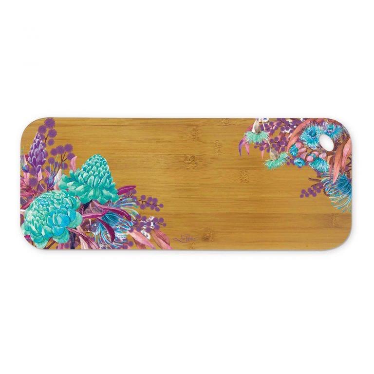 Lisa Pollock Bamboo Medium Serving Platter - Azure Blossoms
