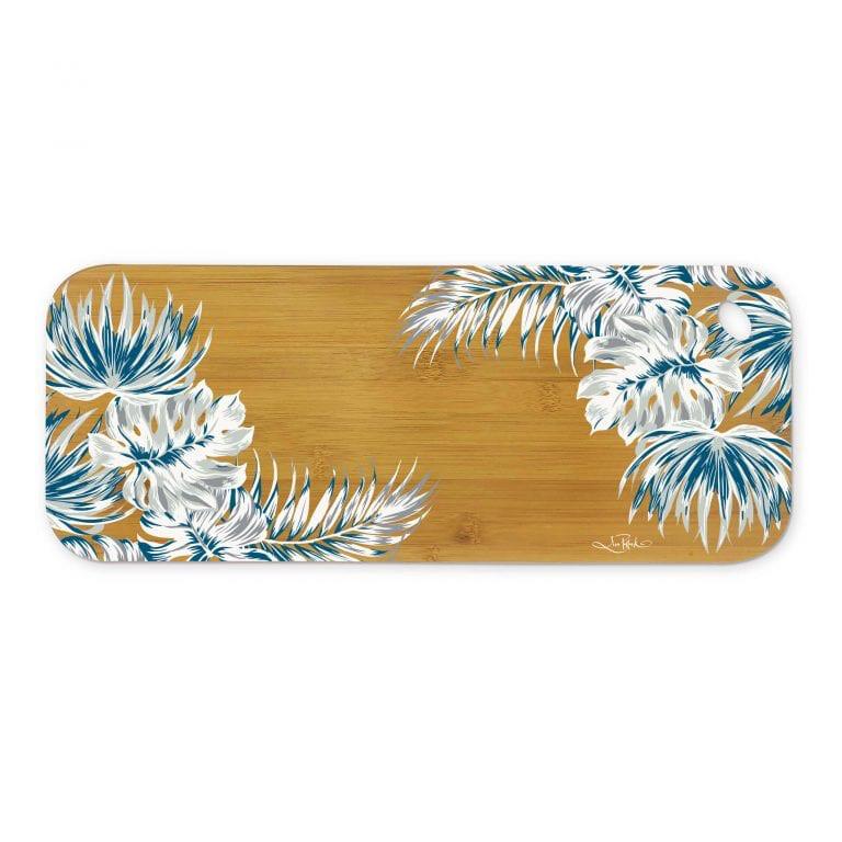 Lisa Pollock Bamboo Medium Serving Platter - White Leaves