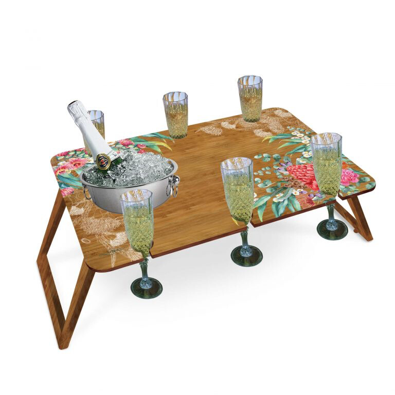 Lisa Pollock Bamboo Picnic Table Large With Wine Bucket And Wine Holders - Botanicals