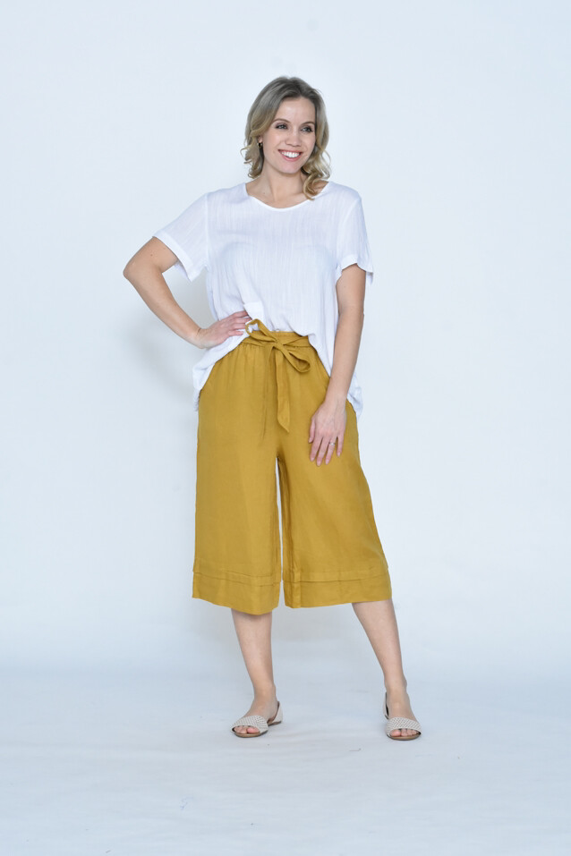 Wide Leg 3/4 Linen Pants With Side Pocket And Tie - Mustard CA19109-5