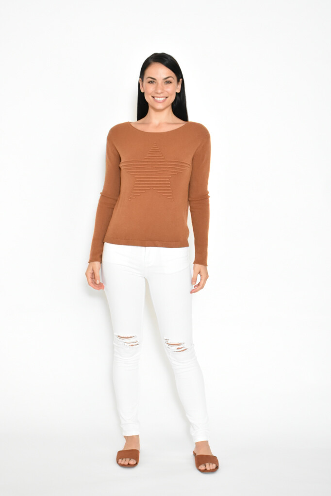 Star Front Detail Knit Top - Rust CAF223