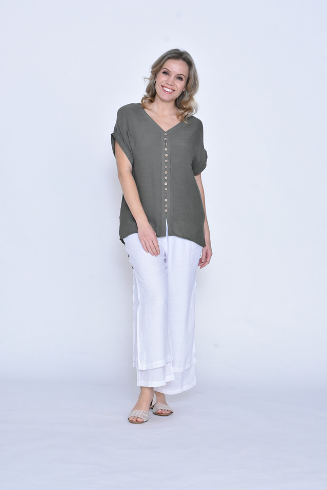 LaMode Layered Top With Wooden Buttons Down Front - Khaki