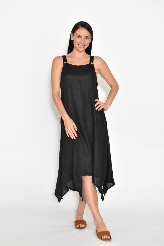 Linen Dress A-Shape With Pockets Black CA8202-7
