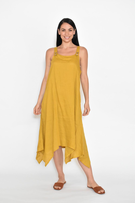 Linen Dress A-Shape With Pockets Mustard CA8202-8