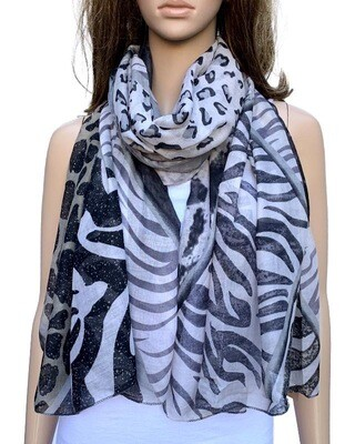 Lemon Tree Scarf Grey Animal Print S8351