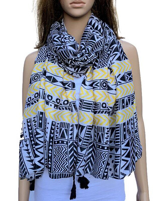 Scarf Yellow And Black Aztec With Tassels S8400