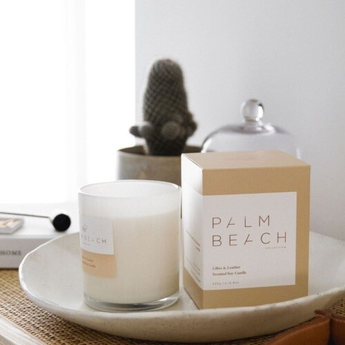 Palm Beach Soy Candle 420g 80 Hours Burn Time - Lilies And Leather