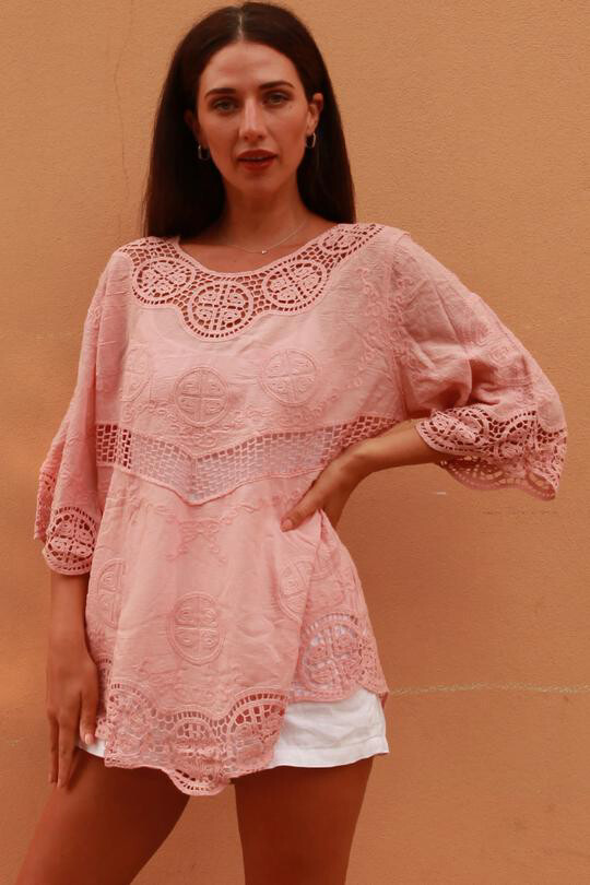 Pink Crochet Detail Top ZWE0014 - One Size