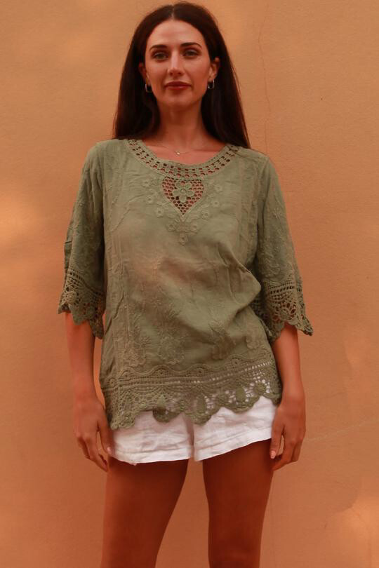 Khaki Crochet Detail Top ZWE0030 - One Size