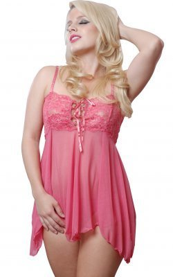 Mesh baby doll with stretch lace